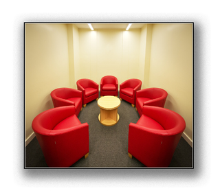 round-table, red chairs